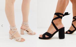 Ex ASOS Park Lane Tie Leg Block Heeled Sandals Ankle Strap Open Toe Size 3-8
