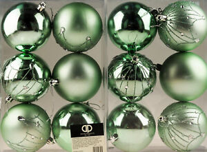 Great Gatsby Mint Green Sparkle Christmas Tree Baubles Decorations (Set of 12)