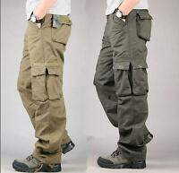 New Men's Casual Overalls Loose Straight Cargo Pants Military Outdoor Trousers