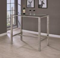 Modern Bar Table With Glass Top Chrome
