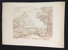 Fredrick C & G. Lewis Engraving after Claude Lorrain Drawing Landscape Village
