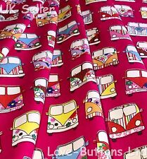 ROSE AND HUBBLE CERISE VW STYLE CAMPERVAN FABRIC 100% COTTON FAT QUARTERS