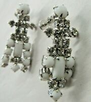"""Antique Milk Glass Dangle Earrings With Crystals 2"""" Screw On."""