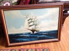 Vintage estate original oil painting by Jackson seascape sailboat on high waves