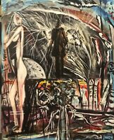 Tribute To Edgar Allan Poe, Original Abstract Painting Stretched Canvas Art