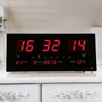 LED Digitale Wanduhr mit Temperaturanzeige und Kalender,EU-Stecker