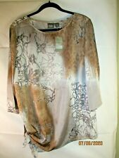 NWT Chico's Travelers Ikat Floral Charmeuse 3/4 Sleeve Tunic Top R70 - Size 4