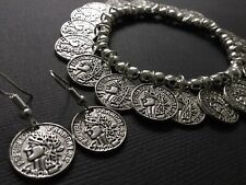 Tibetan Silver COIN Bracelet And FREE Coin Earrings Boho Bijoux Coin Jewellery