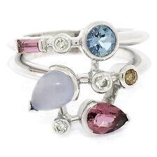 Cartier Meli Melo Platinum Multi Banded Gemstone & Diamond Band Ring Sz 55 / US7