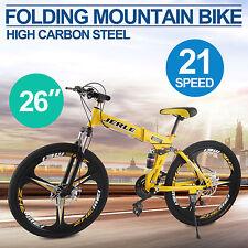 "26"" 3-Spoke Folding Mountain Bike MTB Bicycle Dual Disc Brakes Foldable 21 Speed"
