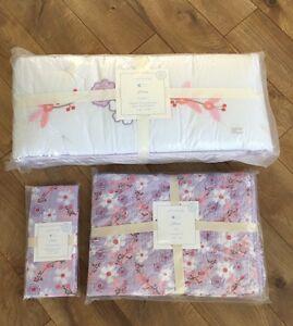 New Pottery Barn Baby Girl Jillian Bumper Quilt Sheet Crib Set