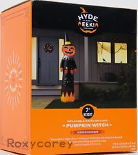 Halloween Gemmy 7 ft Swirling Light Fire & Ice Pumpkin Witch Airblown Inflatable