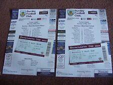2016/17 Burnley v West Ham United   TEAMSHEET with TICKET