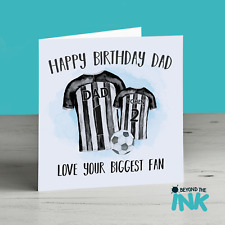 Football Birthday Card For Dad Daddy - Personalised Football card Black White