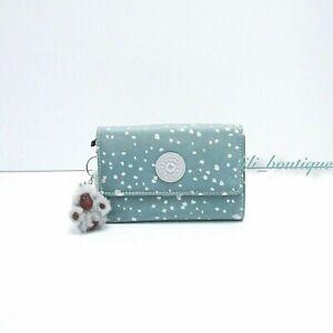 NWT New Kipling AC7782 PIXI Snap Medium Trifold Wallet Polyamide Silver Sky Blue