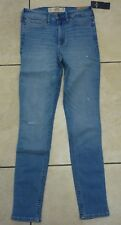 Hollister Stretch H/rise Super SKINNY Jeans Size 3s 8 UK Mid Wash