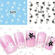 Nail Art Transfer Sticker Water Decals Arabesque Black/White Flower Tips D429