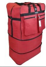 """30""""RED Expandable Rolling Luggae Duffle Bag W/Spinner Wheels UnZips Upto 3 Sizes"""