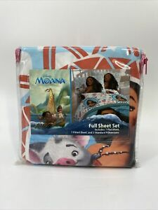Disney Moana Full Size Bed Sheet Set - 4 Piece Bedding Sheets & Pillow Cases New