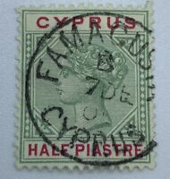 RARE 1896 CYPRUS STAMP #28 WITH FAMAGUSTA SON CANCEL GHOST TOWN FOR 46 YEARS
