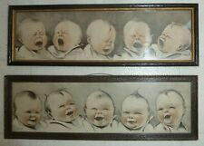 TWO Original 1915 Framed Charles Twelvetrees - 5 Babies Crying and Laughing