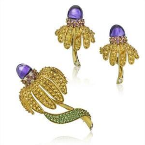 Tiffany & Co Yellow Gold Sapphire Amethyst Tsavorite Diamond Earrings Brooch Set