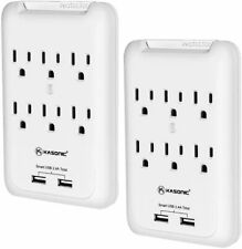 2Pack-6 Outlet Surge Protector with 2 USB Charger Ports Wall Adapter Tap