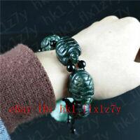 Certified Natural Black Green Jade Sea Turtles Bracelet Fashion Charm Jewelry