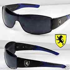 New Khan Mens Sports Shield Black Blue Sunglasses Wrap Designer Fashion One Lens