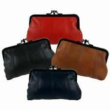 Leather Ladies Clasp Coin Purse by Oakridge 4 Colours Zipped Section Handy
