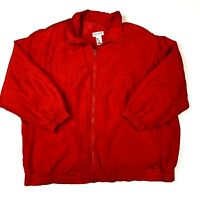Vintage Lady Lavon Track Jacket Womens 1X Plus Size Red Full Zip Silk