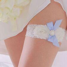 Charming Bridal Wedding Girl Blue Satin Garter White Pearl Bowknot Lace