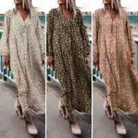 Women's Casual Loose V Neck Long Sleeve Floral Printed Pockets Long Maxi Dress