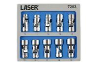 Laser Tools 7283 Universal Joint Socket Set 3/8 Dr 10pc In Foam Module 10-19mm