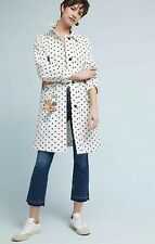 NEW Anthropologie Polka Dot Trench Peacoat Size XXS Petite Jacket