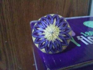 """Japanese Style Temari Ball S16 Pale Yellow W/ Purple Daisy Pattern 5 1/2"""" circ"""