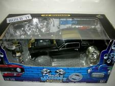 66 MUSTANG IN GLOSS BLACK W/ GOLD STRIPES BUILD IT KIT  EX. RARE  1:18 MIB.