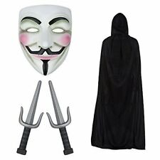 Anonymous Guy Fawkes Plot Ninja Mask, Knives & Cape Fancy Dress Halloween Set