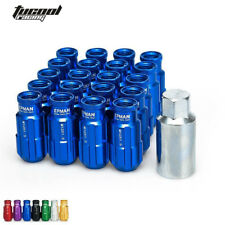 Racing Lug Nuts Aluminum 20PCS 12X1.5MM Open End Extenede Turner With Key Blue