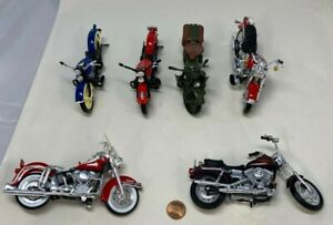 Vintage Lot Of Six 1:18 Scale Harley Davidson Motorcycles By Maisto