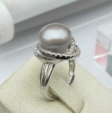 Perfect AAA++ 11-12 MM South Sea gray Silver Pearl Ring + Adjustable