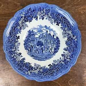 "Vintage* J & G MEAKIN Romantic England * Blue Transferware Serving Bowl 8.5"""
