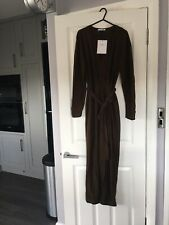 ZARA Khaki Long Sleeve Flowing V Neck Casual Day Party Evening Jumpsuit Size M