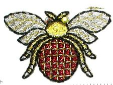 IRON ON PATCH APPLIQUE - BUG GEM EYE  gold/red