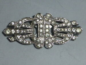 Stunning Antique Art Deco Silver and Crystal Duette Clips and Brooch.