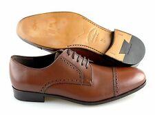 Men's SALVATORE FERRAGAMO 'Brogue' Brown Leather Cap Toe Oxfords Size US 9.5 EE
