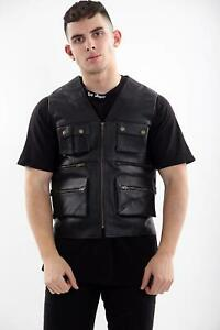 Mens Real Leather Biker Motorcycle Multi pocket Fishing Hunting Waistcoat/Vest