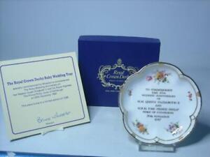 1987 Royal Crown Derby 40th WEDDING ANNIVERSARY QUEEN ELIZABETH Five Petal Dish