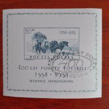 Polonia 1958 Hoja bloque 400 Aniversario del correo matasello primer dia rara