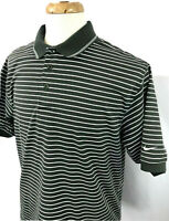 NIKE GOLF Cotton Polo Short Sleeve Shirt ~ Men's M / Green w/White Stripe